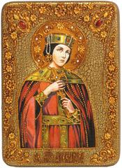 Инкрустированная Икона Святая мученица Александра Римская 29х21см на натуральном дереве, в подарочной коробке
