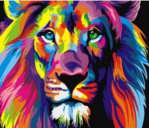 Картина раскраска по номерам 30x40 Разноцветный лев