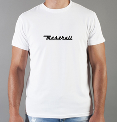 Футболка с принтом Мазерати (Maserati) белая 008