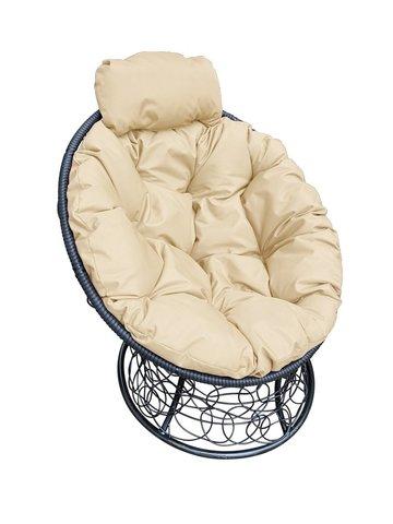 Кресло «Папасан» пружинка black/beige