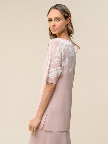 Женский джемпер светло-розового цвета с контрастным принтом из шелка и вискозы - фото 2