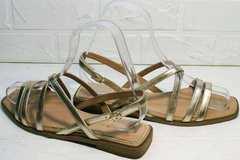 Стильные женские сандалии босоножки на тонких ремешках Wollen M.20237D ZS Gold.