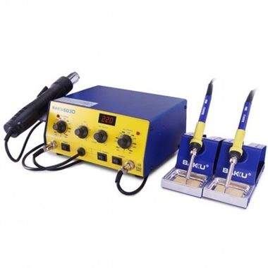 BAKU Rework Station BK-603D One air gun & dual solder irons + Temperature Display for hot air