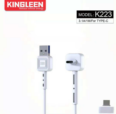 Kingleen Cable K223 For Type-C 1M/3.1A Black MOQ:84