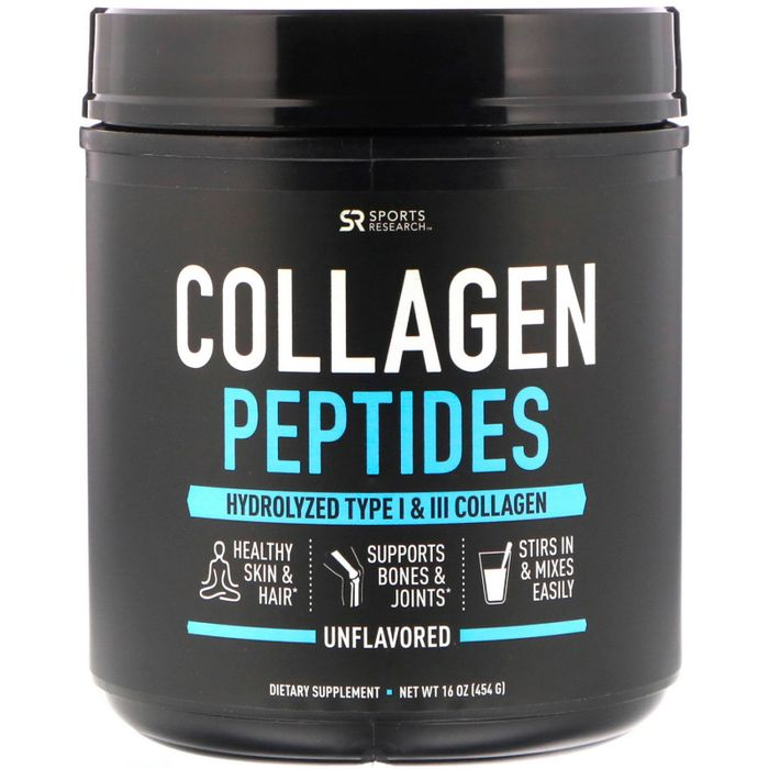 Коллаген, Collagen Peptides, Sports Research, 454 г (16 oz)