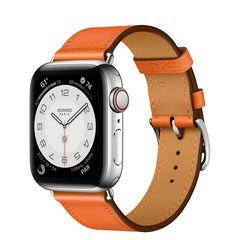 Умные часы Apple Watch Hermès Series 6 GPS + Cellular 40mm Stainless Steel Case with Single Tour (Orange)