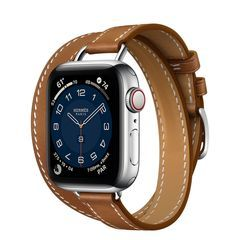 Умные часы Apple Watch Hermès Series 6 GPS + Cellular 40mm Stainless Steel Case with Attelage Double Tour (Fauve)