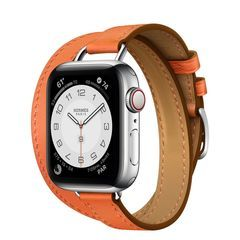 Умные часы Apple Watch Hermès Series 6 GPS + Cellular 40mm Stainless Steel Case with Attelage Double Tour (Orange)