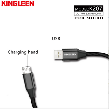 Kingleen Cable K207 For Micro 1M 3.1A Red MOQ:118