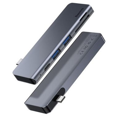 Baseus Adapter Harmonica 5IN1 HUB Grey MOQ:10 (CAHUB-K0G)
