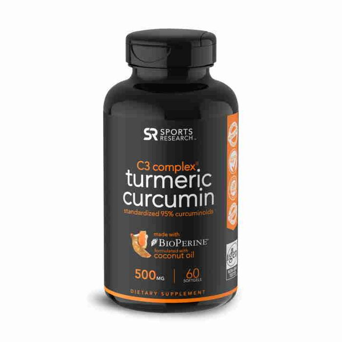 Комплекс с Куркумином C3 с Биоперином, Curcumin C3 Complex BioPerine, Sports Research, 500 мг (60 капсул)